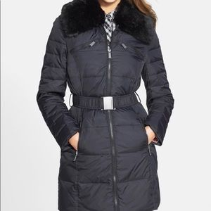 DKNY down + removable faux fur collar Coat